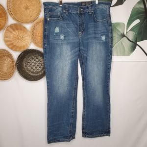 Buckle Axel Relaxed Straight Distressed Jeans 38